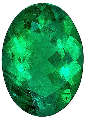 Natural  0.58 carat Emerald Gemstone, Vivid Rich Green in Oval shape, 6.8 x 5  mm