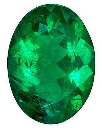 Natural  Vivid Green 0.58 carat Emerald Gemstone, Vivid Rich Green Color in Oval shape, 6.8 x 5.0  mm