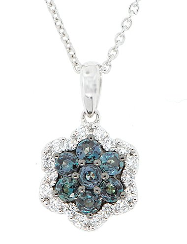 Natural .38ct 2.5mm Round Shaped AAA Grade Alexandrite and Diamond Pendant in 18 kt White Gold