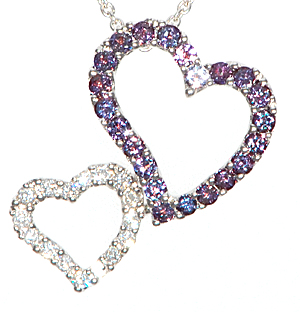 Natural .58ct 1.5mm Alexandrite and Diamond Pendant in 18 kt White Gold Valentines Gift - FREE Chain