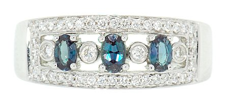 Natural 5x3mm Alexandrites .70cts and Diamond Encrusted Attractive Band in 18kt White Gold