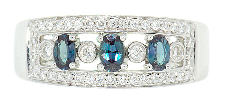 Natural Alexandrites .70cts and Diamond Encrusted Attractive Band in 18kt White Gold