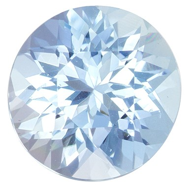 Faceted Aquamarine Gemstone, 1.07 carats, Round Cut, 6.9 mm, Great Deal on This Gem