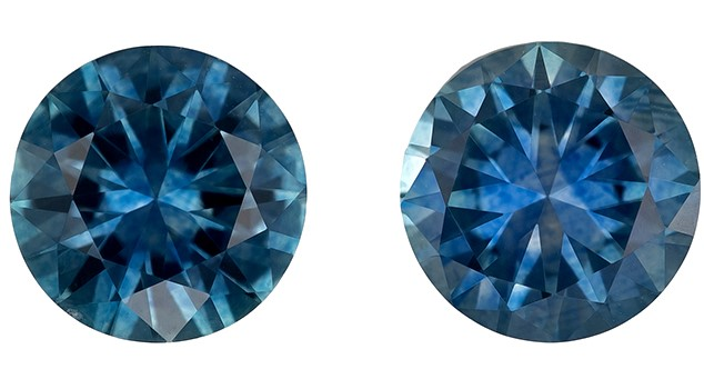 Natural Blue Green Sapphire Gemstones, Round Cut, 1.45 carats, 5.5 mm Matching Pair, AfricaGems Certified - A Great Buy