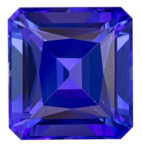 Natural Vivid Tanzanite Gemstone, Emerald Cut, 5.71 carats, 10.2 x 9.6 mm , AfricaGems Certified - A Beauty of A Gem