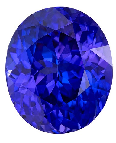Natural Vivid Tanzanite Gemstone, Oval Cut, 7.8 carats, 12.8 x 10.8 mm , AfricaGems Certified - A Low Price