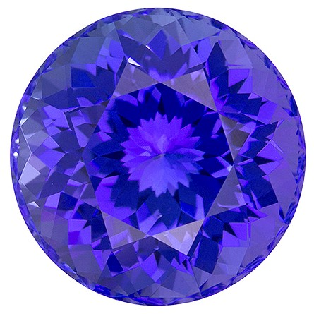 Natural Vivid Tanzanite Gemstone, Round Cut, 10.69 carats, 13 mm , AfricaGems Certified - A Great Buy