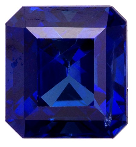 Natural Blue Sapphire Gemstone, Emerald Cut, 1.11 carats, 5.7 x 5.26 x 3.87 mm , GIA Certified - A Low Price Top Gem