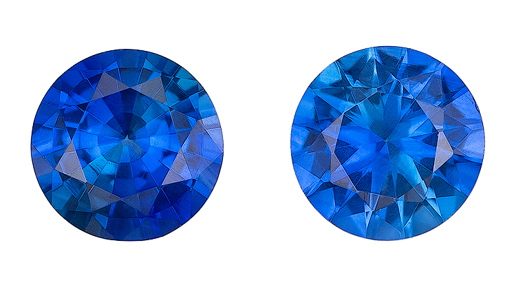 Natural Blue Sapphire Gemstones, Round Cut, 0.5 carats, 3.9 mm Matching Pair, AfricaGems Certified - A Fine Gem Pair
