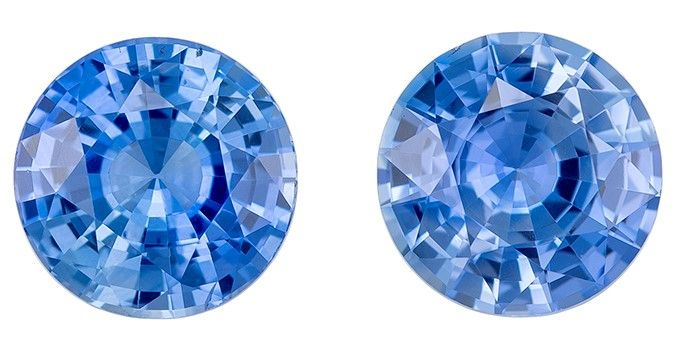 Natural Blue Sapphire Round Shaped Gemstones Matched Pair, 1.67 carats, 5.7mm - A Beauty of A Gem