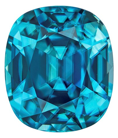 Natural Blue Zircon Gemstone, Cushion Cut, 8.29 carats, 10.9 x 9.4 mm , AfricaGems Certified - A Low Price