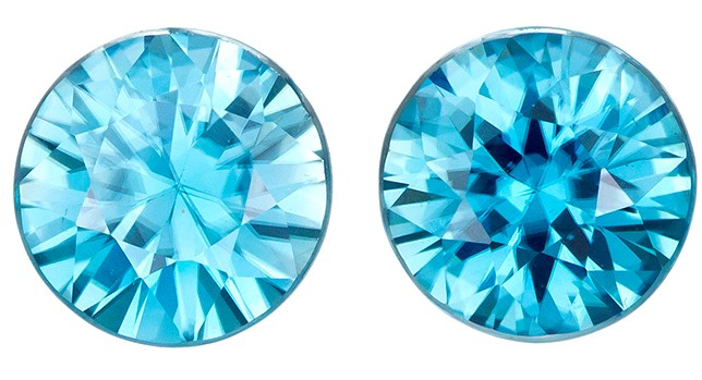 Natural Blue Zircon Gemstones, Round Cut, 4 carats, 7 mm Matching Pair, AfricaGems Certified - Great for Studs
