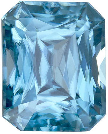 Natural Blue Zircon Loose Gem in Emerald Cut, Vivid Rich Blue, 8.6 x 6.9 mm, 3.59 Carats