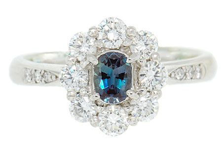 Natural Delicate Real GEM  .35ct 5x3.5mm Alexandrite and .7ct Diamond Cluster Ring in Platinum