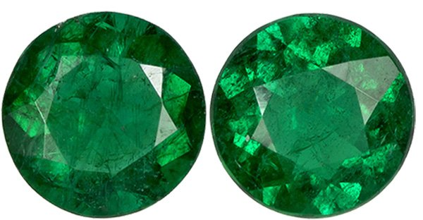Natural Emerald Well Matched Pair in Round Cut, Rich Green Color in 4.4 mm, 0.56 carats