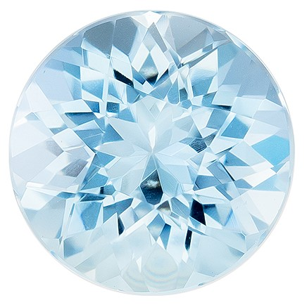 Natural Gem Aquamarine Round Shaped Gemstone, 0.75 carats, 6mm - Great Colored Gem
