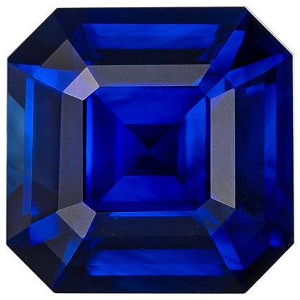 Natural Gem Blue Sapphire Asscher Shaped Gemstone, 1.19 carats, 5.8 x 5.8mm - A Beauty of A Gem