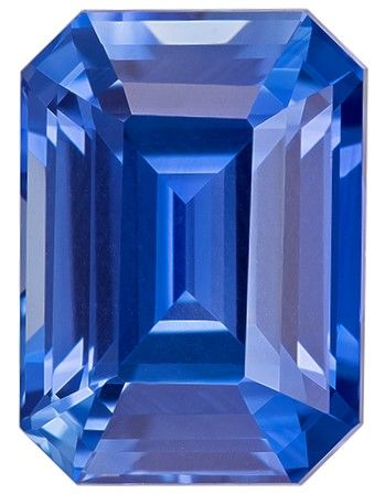 Natural Gem Blue Sapphire Emerald Shaped Gemstone, 2.22 carats, 8.2 x 5.9mm - Unique Beauty
