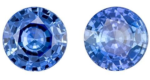 Natural Gem Blue Sapphire Round Shaped Gemstones Matching Pair, 1.97 carats, 5.9mm - Super Great Buy