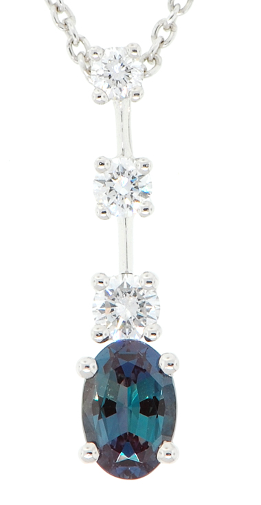 Natural Gem Oval .50 carat 6.5x4.5mm GEM Grade Alexandrite & Diamond Pendant set in Platinum for SALE