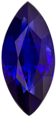 Natural Genuine Fine Blue Sapphire Loose Gem, Marquise Cut, Vivid Rich Blue, 9.2 x 4.3 mm, 1 carats