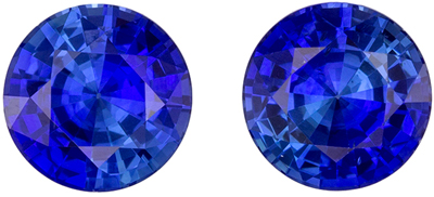 Natural Genuine Fine Blue Sapphire Well Matched Pair, 6 mm, Medium Rich Blue, Round Cut, 2.01 carats