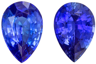 Natural Genuine Fine Blue Sapphire Well Matched Pair, Pear Cut, Medium Rich Blue, 5.9 x 4 mm, 0.95 carats