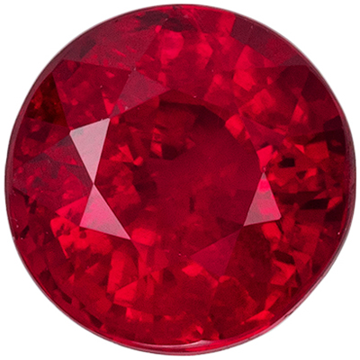Natural Genuine Fine Ruby Loose Gem, 5.2 mm, Vivid Rich Red, Round Cut, 0.82 carats