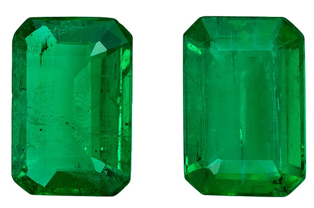 Natural Vibrant Emerald Gemstones, Emerald Cut, 0.91 carats, 6 x 4 mm Matching Pair, AfricaGems Certified - A Deal