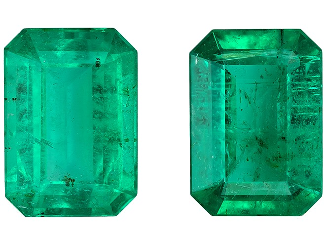 Natural Vibrant Emerald Gemstones, Emerald Cut, 1.58 carats, 7 x 5 mm Matching Pair, AfricaGems Certified - Great for Studs