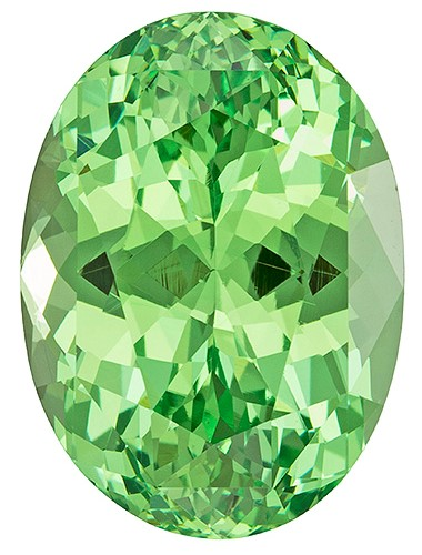 Natural Green Garnet Gemstone, Oval Cut, 8.15 carats, 14.1 x 10.2 mm , AfricaGems Certified - Truly Stunning