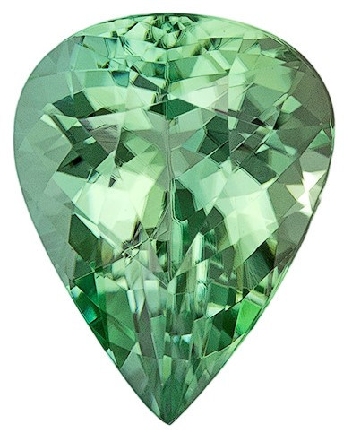 Natural Green Tourmaline Gemstone, Pear Cut, 1.74 carats, 9.1 x 7.1 mm , AfricaGems Certified - A Low Price