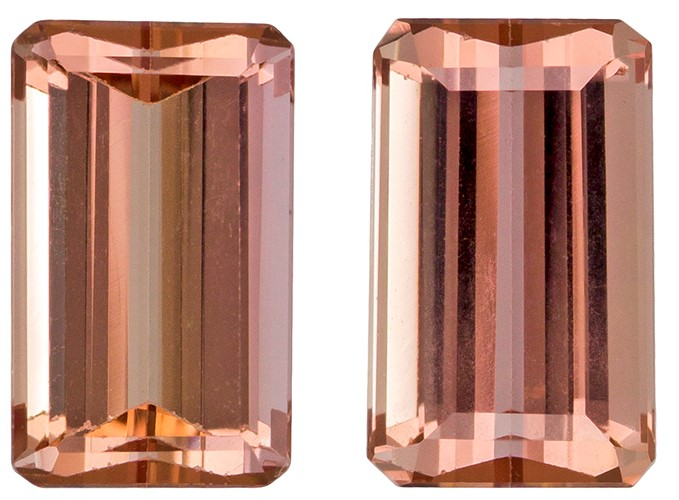 Natural Imperial Topaz Gemstones, Emerald Cut, 2.68 carats, 7.7 x 4.7 mm Matching Pair, AfricaGems Certified - Great for Studs