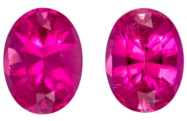 Natural Pink Tourmaline Gemstones, Oval Cut, 4.74 carats, 10.1 x 7.5 mm Matching Pair, AfricaGems Certified - Great for Studs
