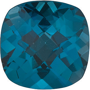 Faceted Loose Natural Genuine Antique Square Shape Checkerboard London Blue Topaz Gem Grade AAA, 5.00 mm in Size, 0.75 Carats