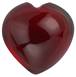 Natural Red Garnet Gem, Heart Shape Cabochon, Grade AAA, 6.00 mm in Size, 1.1 carats