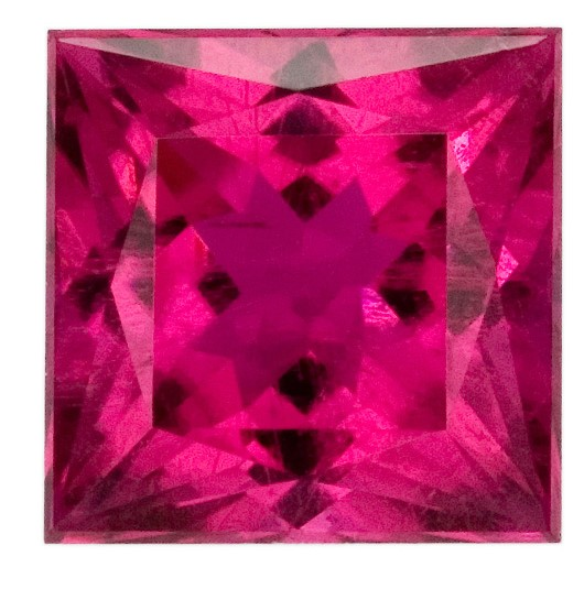 Natural Red Tourmaline Gemstone, Princess Cut, 2.1 carats, 7 mm , AfricaGems Certified - A Hard to Find Gem