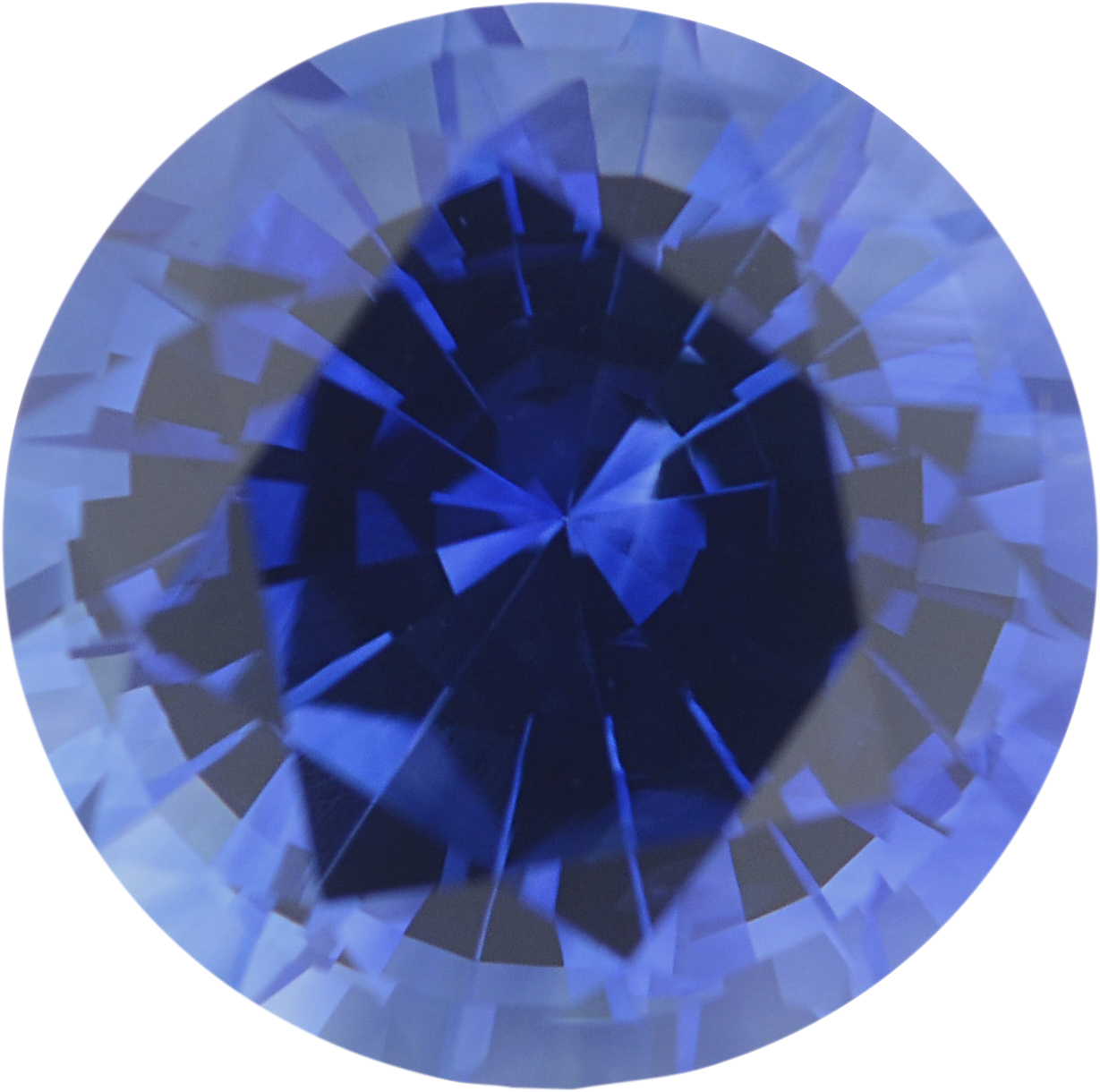 Natural Sapphire Loose Gem in Round Cut, Medium Violet Blue, 6.5 mm, 1.36 Carats