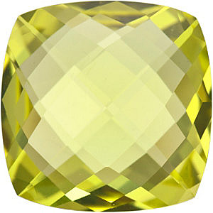 Natural Standard Size Loose Antique Square Shape Double Sided Checkerboard Lemon Quartz Gem Grade AA, 14.00 mm in Size