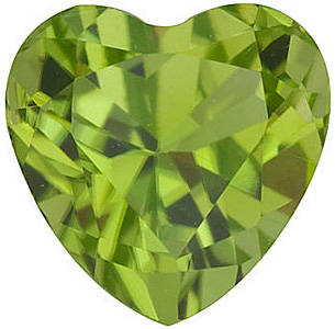 Natural Standard Size Loose Heart Shape  Peridot Gem Grade AA, 6.00 mm in Size, 0.95 Carats