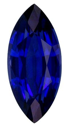 Natural Stunning1.32 carats Sapphire Genuine Gemstone in Marquise Cut, Intense Blue, 10.2 x 4.7 mm