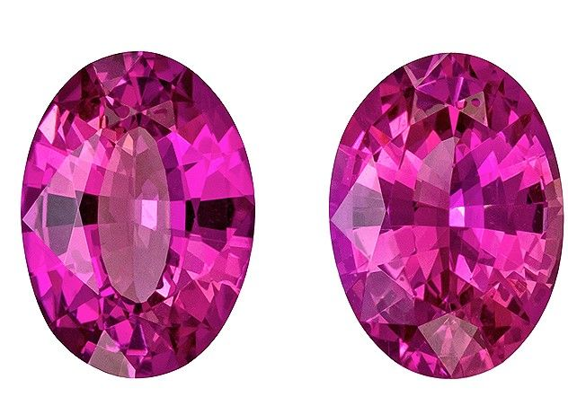 Natural Stunning6.8 x 4.9 mm Sapphire Loose Gemstone Pair in Oval Cut, Medium Pink, 1.59 carats