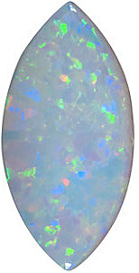 Natural White Fire Opal Gem, Marquise Shape Cabochon, Grade AAA, 10.00 x 5.00 mm in Size, 0.6 carats