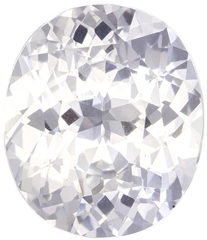 Natural White Sapphire Loose Gem in Oval Cut, Colorless White, 10.2 x 8.7 mm, 3.56 carats - SOLD