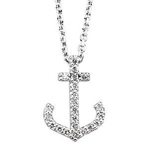 Nautical Chic 14k White Gold .13ct Diamond Anchor Pendant - FREE Chain