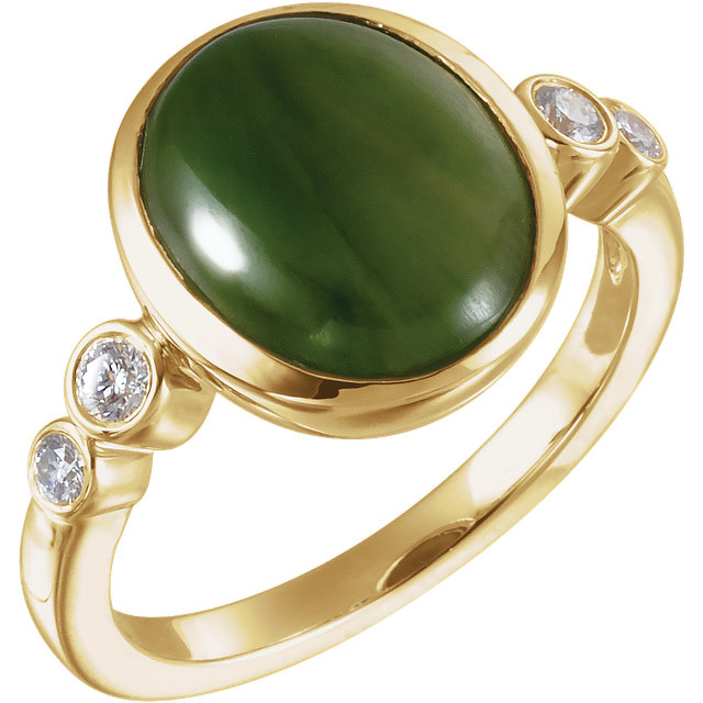 Must See 14 KT Yellow Gold Nephrite Jade & 0.17 Carat TW Diamond Ring