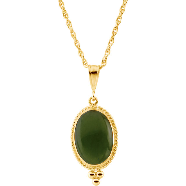 14 KT Yellow Gold 14X10mm Oval Cabochon Nephrite Jade 18