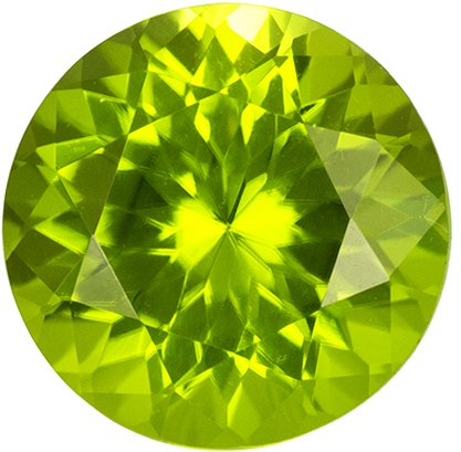 Beautiful Round Cut Peridot Loose Gem, Medium Green, 7.9 mm, 2.02 carats