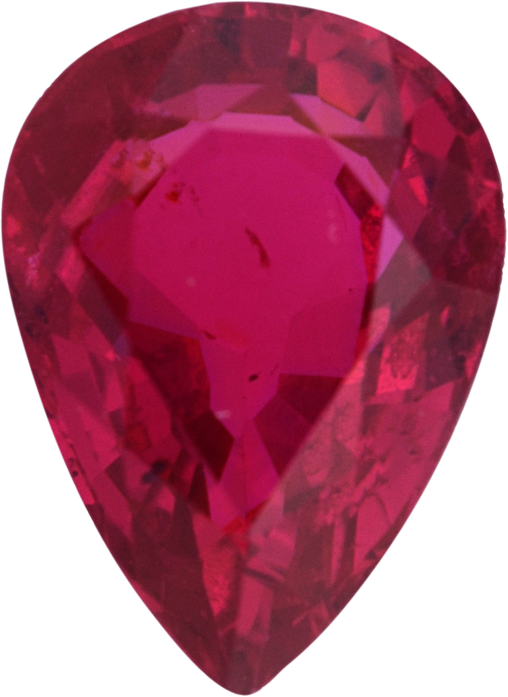 Nice Looking  No Heat Ruby Loose Gem in Pear Cut, Medium Strong Purple Red, 7.14 x 5.15  mm, 1.03 Carats