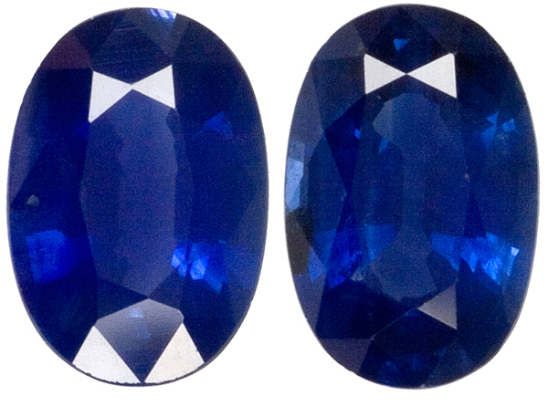 Nice Looking Rich Blue Sapphire Gem Pair, 6 x 4 mm, Oval Cut, 1.08 carats